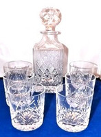 Glencairn Crystal Set Of 5 Whisky Tumblers And Decanter