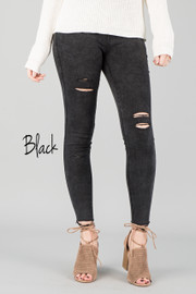 DISTRESS JEGGINS || BLACK