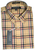 Enro Non-Iron Button Down Collar Yellow Plaid Big & Tall Sportshirt