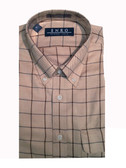 Enro Non-Iron Button Down Collar Tan Grid Big & Tall Sportshirt