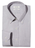 Enro Non-Iron Button Down Collar Gray Check Big & Tall Dress Shirt