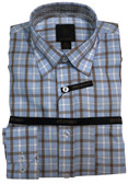 Fusion Light Blue Plaid Big Size Sportshirt