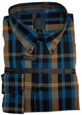 Fusion Teal/Black Twill Plaid Tall Size Sportshirt