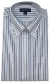 Enro/Damon Ultra Poplin Button Down Collar Royal Blue Stripe Dress Shirt - 130145