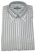 Enro/Damon Ultra Poplin Button Down Collar Blue Stripe Dress Shirt - 110102