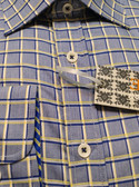 Enzone All Cotton Spread Collar Blue Grid Sportshirt