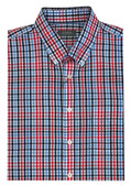 Enro Non-Iron Button Down Collar Blue/Red Check Sportshirt