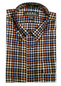 Enro Non-Iron Button Down Collar  Navy Multi Check Sportshirt