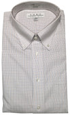 Enro Non-Iron Button Down Collar Brown and Blue Check Dress Shirt