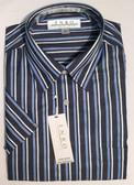 Enro Non-Iron Hidden Button Down Collar Navy Stripe Short Sleeve Sportshirt