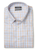 Enro Non-Iron Hidden Button Down Collar Orange/Blue Grid Short Sleeve Sportshirt 169896