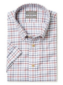 Enro Non-Iron Hidden Button Down Collar Wine Blue Grid Short Sleeve Sportshirt 169904
