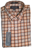 Enro Non-Iron Hidden Button Down Collar Rust Plaid Sportshirt