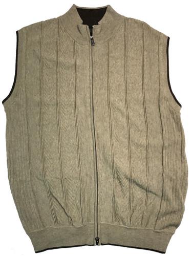 FX Fusion Herringbone Stripe Full Zip Sweater Vest - Style 497 ...