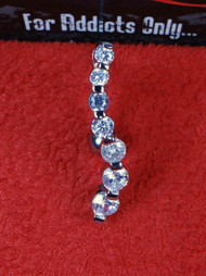 7 Gem Silver Waterfall Top Dangle Belly Ring