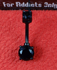 Black Prong Set Double Gemstone Belly Ring