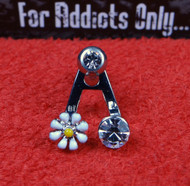 """Silver Daisy Gem """"A"""" Frame with Straight Barbell"""