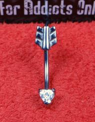 Arrow Heart Clear Gem Curved Bar