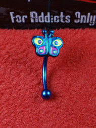 Blue PVD Coated Butterfly Curved Bar