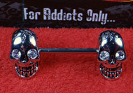 Double Skull Clear Eyes Silver Nipple Bar