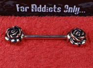 Rose Gold Double Rose Nipple Bar Large