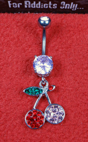 Pink and Red Gem Cherry Dangle Belly Ring