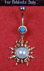 Gold Pearl Sun Dangle Belly Ring
