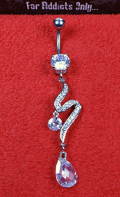 "Silver Clear Gem ""S"" Tear Drop Dangle Belly Ring"