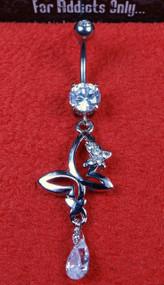 Silver Clear Gem Butterfly Tear Drop Dangle Belly Ring