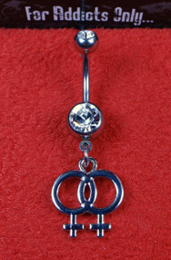 Silver Female Sign Dangle Belly Ring
