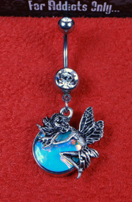 Silver Fairy Opal Dangle Belly Ring