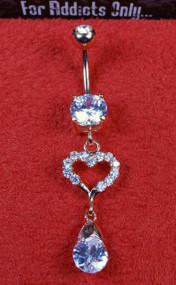 Rose Gold Clear Gem Heart Tear Drop Dangle Belly Ring