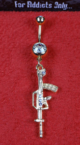 Gold AR-15 Dangle Belly Ring