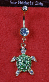 Gold Clear Gem Sea Turtle Dangle Belly Ring
