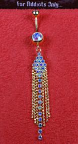 Gold 6 Bead Aurora Borealis Dangle Belly Ring