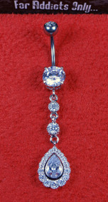Silver Clear Tear Drop 2 Round Dangle Belly Ring