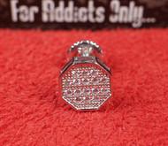 14 Clear Gem Hexagon Silver Custom Earring