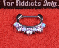 "7 Gem Pink Pink Opal Prong 1/4"" Septum Clicker"