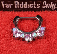 "7 Gem Pink Pink Opal Prong 5/16"" Septum Clicker"