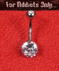 Silver 3 Prong Round Clear Gem Belly Ring