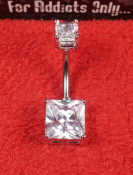 Double Princess Cut Clear Belly Ring