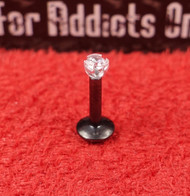 Black 3 Prong Flat Back Monroe 16g 1/4 2mm Clear