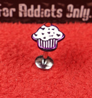 White Purple Enamel Cupcake Flat Back Monroe 16g 5/16