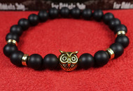 Matte Onyx Gold Owl Bracelet