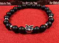 Matte Onyx Silver Owl Bracelet