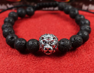 Lava Rock Silver Lion Bracelet