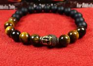 Matte Onyx Tigers Eye Gold Buddha Bracelet
