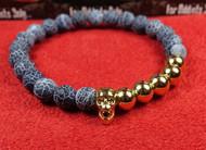 Blue Stone 5 Bead Gold Skull Bracelet