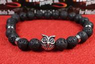 Lava Rock Silver Owl Bracelet