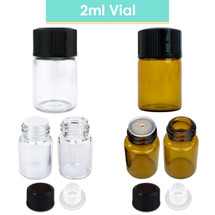 2ML (5/8 Dram) Glass Vials with Orifice Reducers and Black Cap